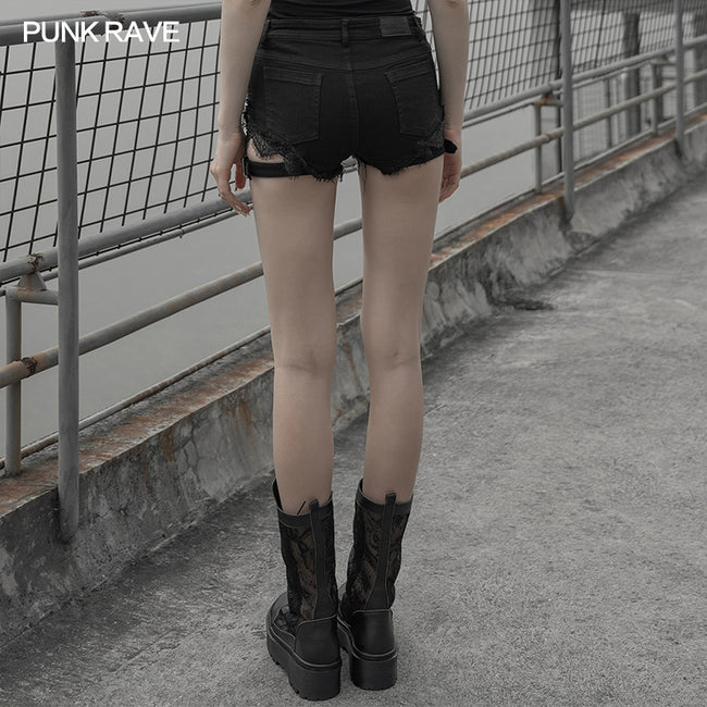 Gothic Sexy Tied Rope Short Jeans