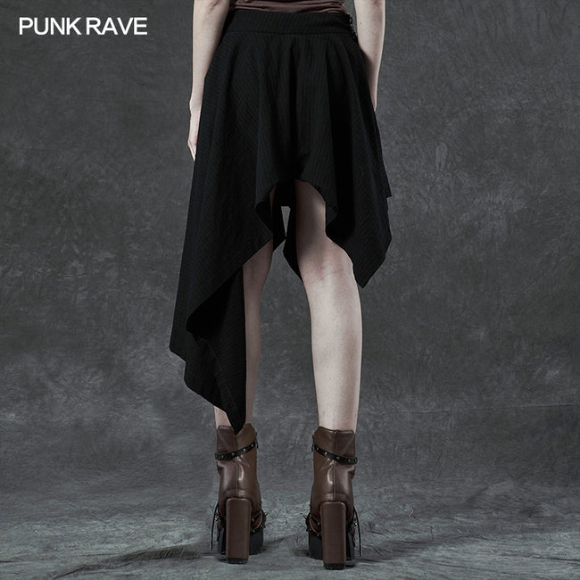 Punk asymmetrmetric vertical half skirt