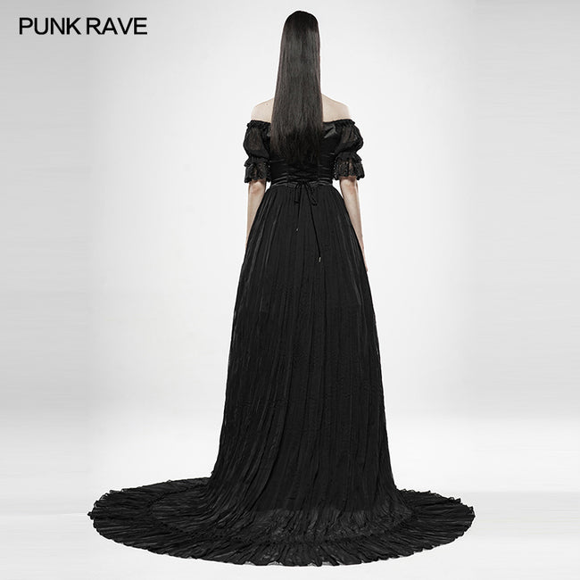 Black feather off shoulder dress
