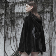 Dark Velvet Embroidered Cloak Jacket With Moon Design