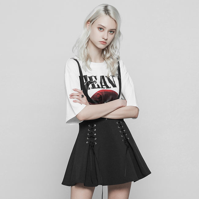 Classic Strap Skirt Punk Zipper Bandage Suspender Skirt For Women