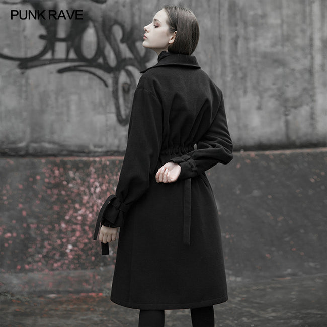 Lumbar drawstring decoration long coat (with rope)