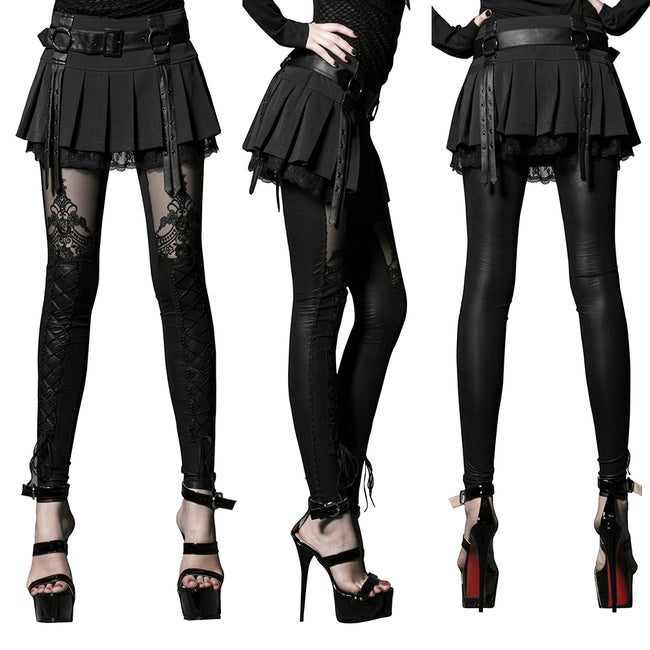 Women's Victorian Style Sexy Leather Gothic Leggings With Lace