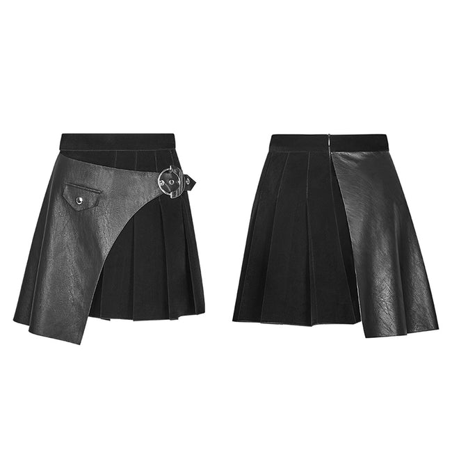 Black Pleated Stitching Half Skirt