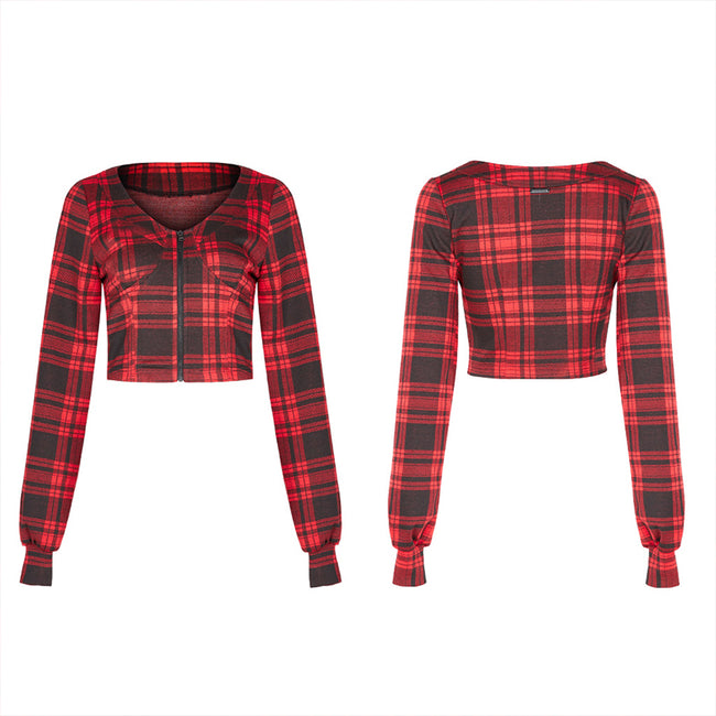 Knitted plaid short coat