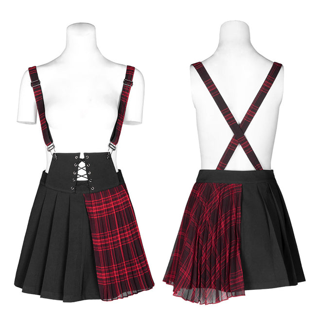 Plaid spliced suspender skirt