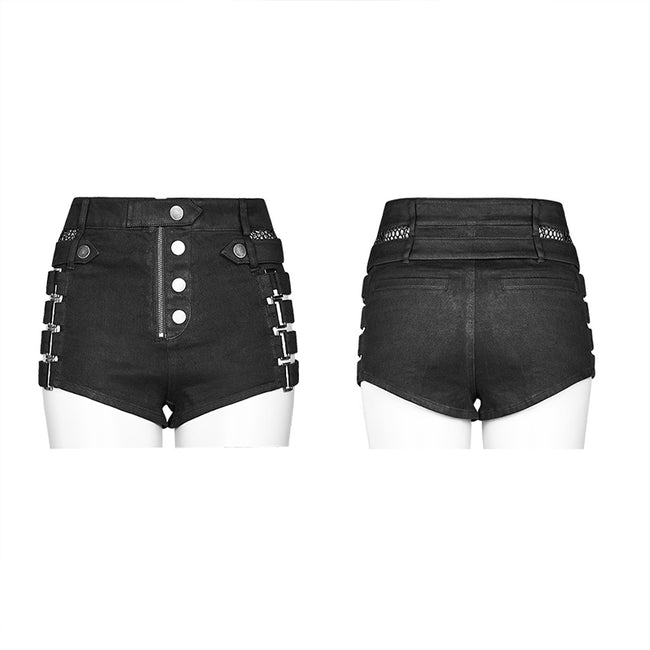 Metallic Rock Hollow Denim Shorts