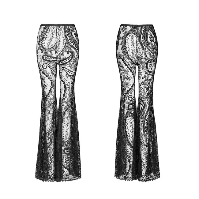 Gothic Paisley pattern lace transparent trousers