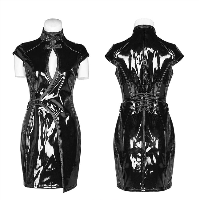Punk sci-fi art patent leather Chinese style dress