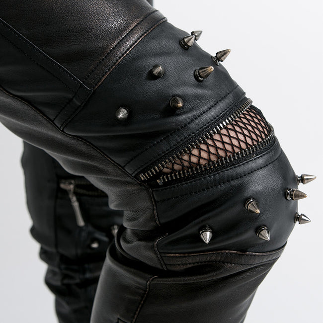 Top Sale Vintage Leather Punk Pants With Awl Nail On Knee