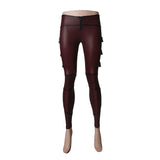 Wine Red Sexy Motorcycle Studded Belts Leather Punk Pants Leggings