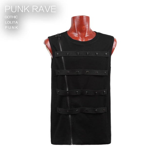 Black Cotton Blets Rock Casual Punk Vest