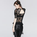 Semi Transparent Fashion Brand Lace Short Gothic Shirt