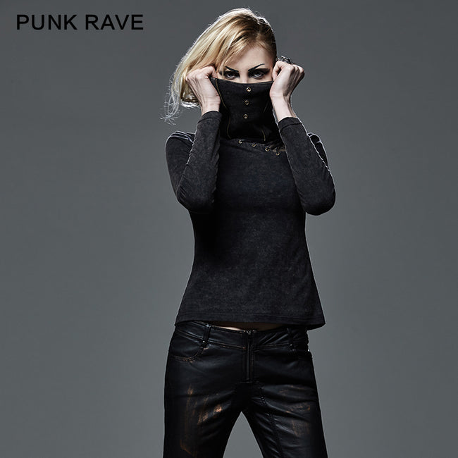 Drawstring Hollow-out Club Elastic Punk Shirts With Standing Collar