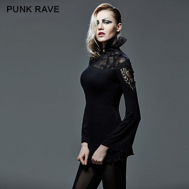 Hollow-out Long Sleeve Turtleneck Gothic T-shirts