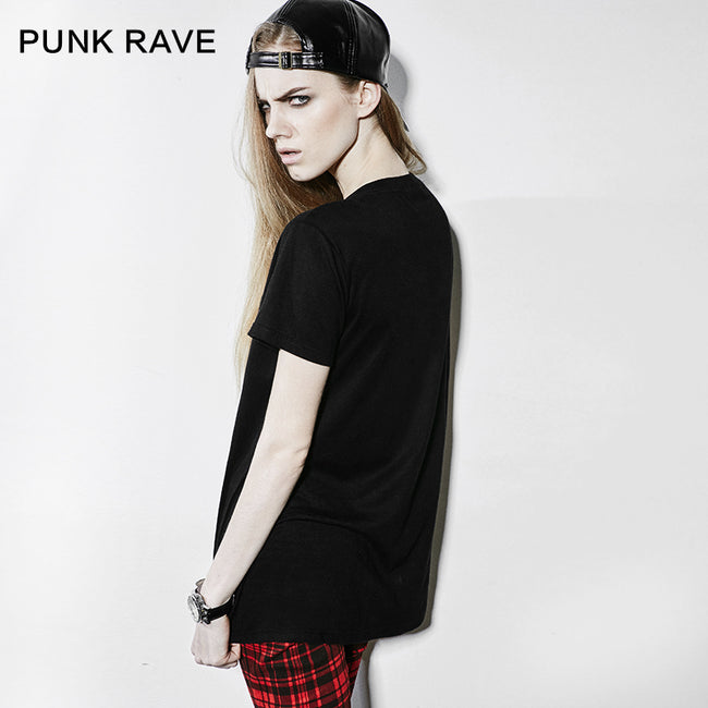 Red And Black Short Sleeve Punk T-shirts For Women