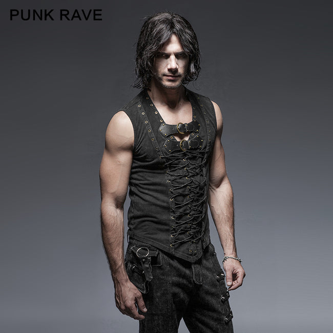 Black Rock Cotton Leather Belt Sleeveless Punk Shirts For Men