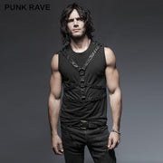 Black Sleeveless Stripe Tank Tops Punk Vest For Men