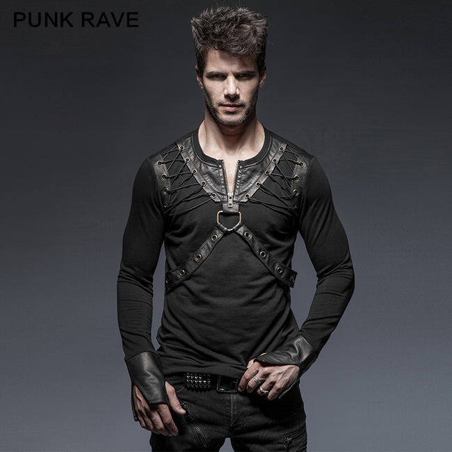 Lacing Shoulder Leather Belts Long Sleeve Punk Shirts