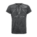 Black Soilder Open Collar Short Sleeve Cotton Punk Shirts For Men