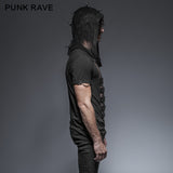 Rock Transparent Mesh Punk Shirts With Hood
