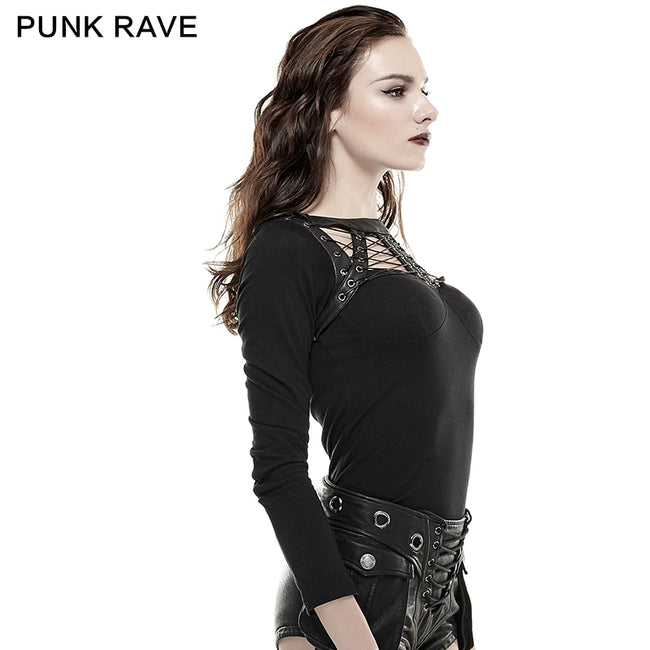 Black Sexy Spider Pattern 100% Cotton Skinny Backless Punk Shirts
