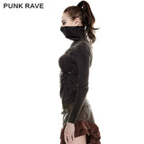 Coffe Steampunk Tight Mesh Punk Shirts With High Collar