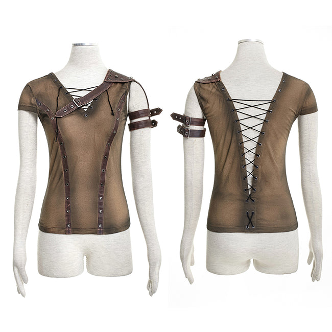 Steampunk Top Crocheted Strape Backless Punk Shirts For Women