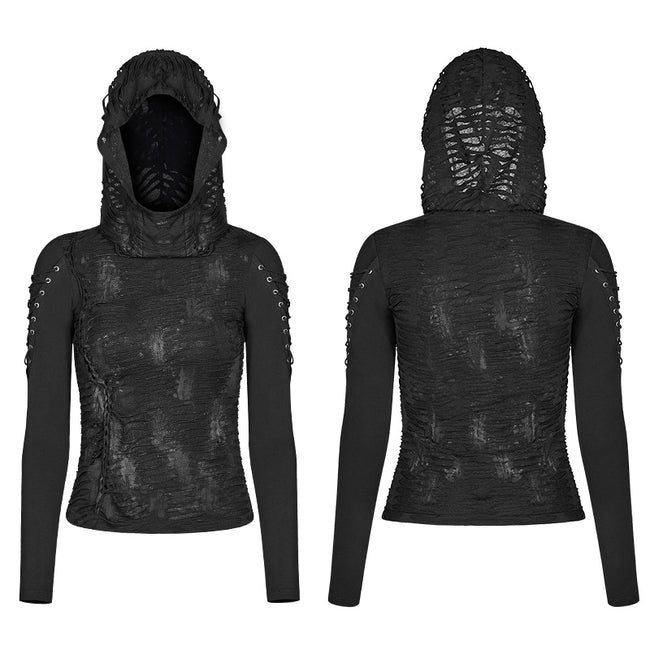 Womens & mens Double Layers Irregular Dark Gothic Shirt With Black Hole Hooded