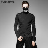 Casual Style Fancy Cotton High-necked Punk Shirts With Printing Pattern