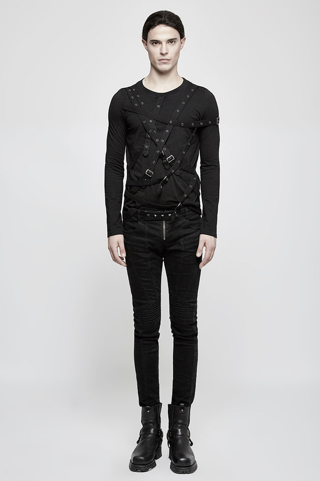 Simple Black Long Sleeve Punk Shirts For Men