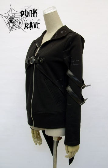 Black Long Sleeve Punk Jacket With Hood For Men