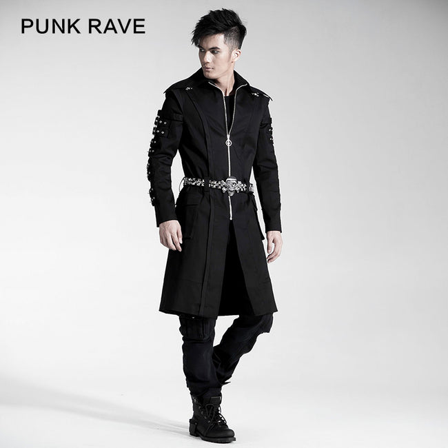 Black Long Standing Collar Gothic Trench Coats With Skeleton Belt