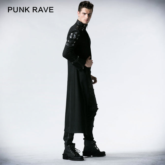 Black Handsome Down Long Gothic Trench Coats With High Collar