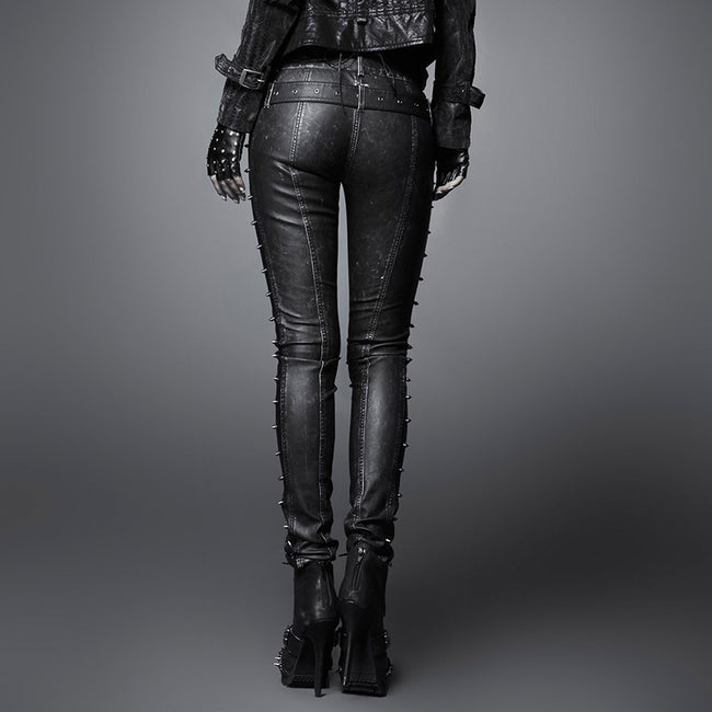 Sexy Women Special Black And Copper Leather Punk Pants