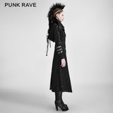 Black Winter High Collar Long Rock Punk Coat