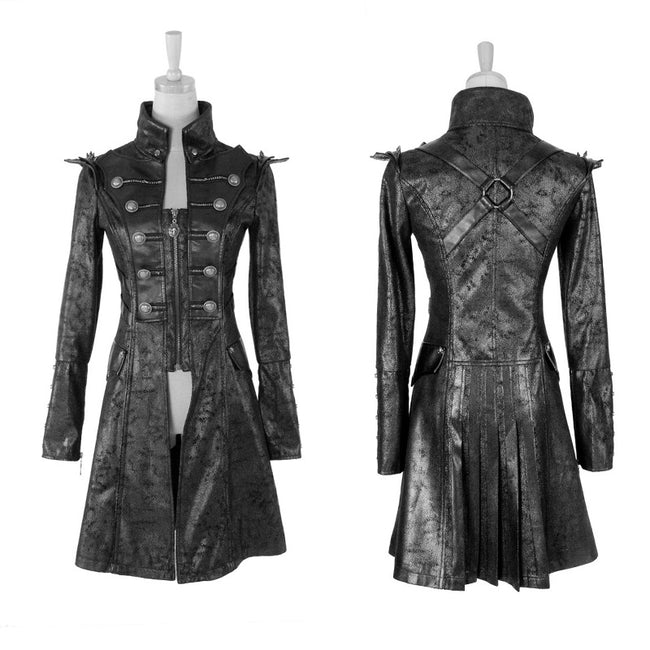 Fashion Black Long Leather Punk Trench Coats With Standing Collar