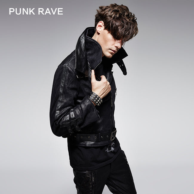 Stylelish Black Long Sleeve Leather Punk Jacket