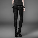 Long Women Punk Pants In Sexy Black With Dark Chain Printed