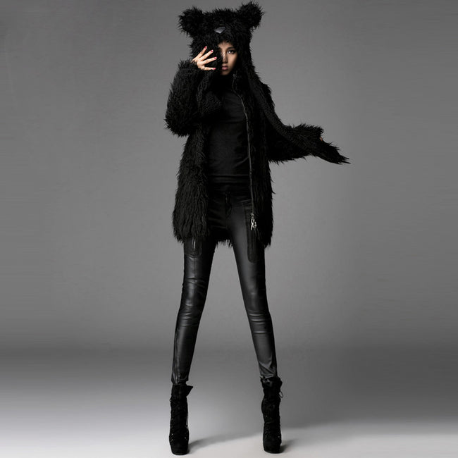 Unisex Hood Feather Winter Short Gothic Trench Coats