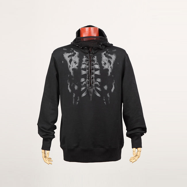 Black Long Sleeve Punk Hoodie With Printing Pattern For Men