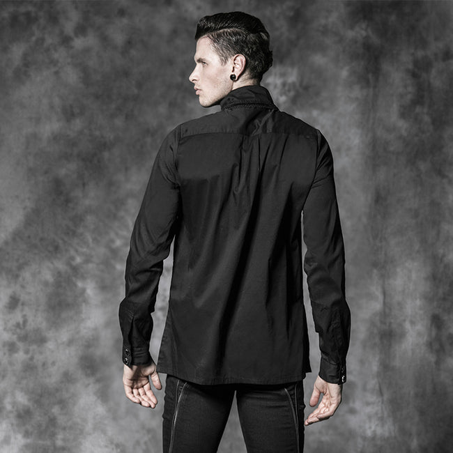 Classic Fold Long Sleeve Gothic Shirt For Men
