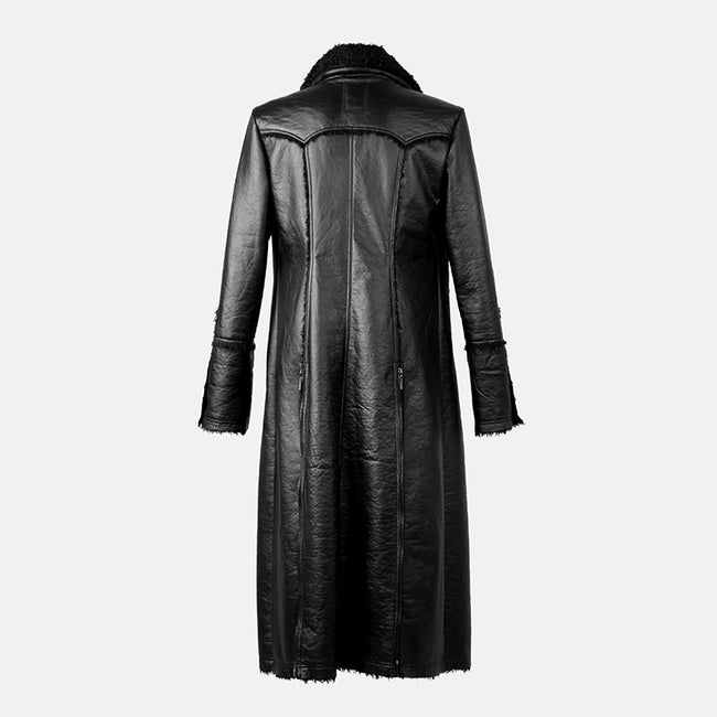 Military Winter Long Leather Punk Coat With Collar