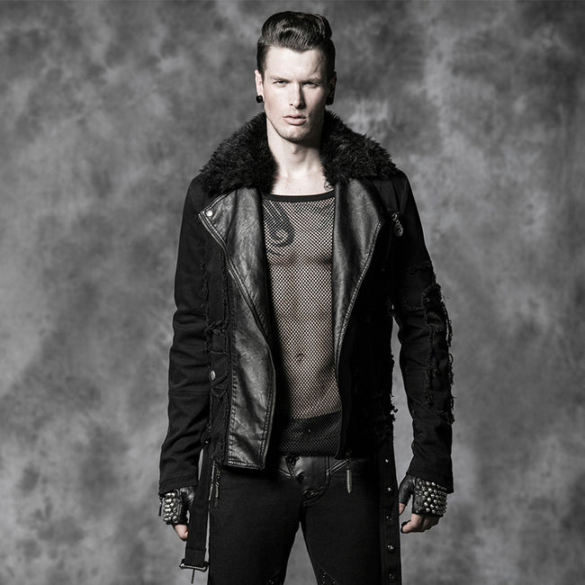 Long Leather Punk Coat With The Warm Black Fur Collar For Men