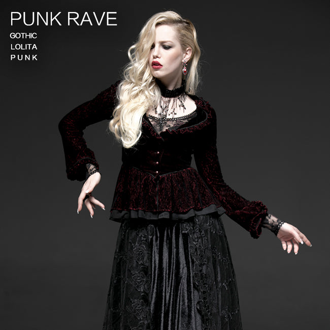Two-tone Plain Flocking Mesh Long-sleeve Gothic Jacket