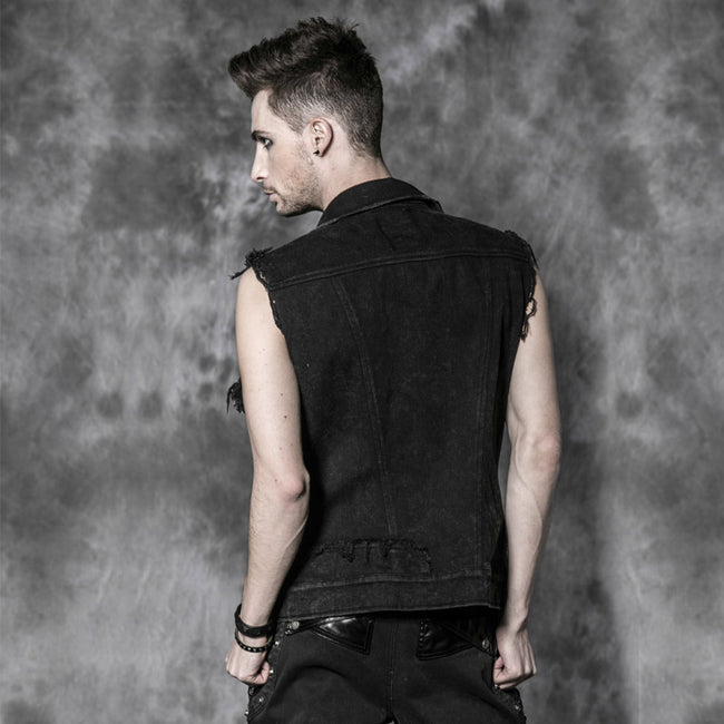 Unisex Jean Coat/black Sleeveless Punk Vest With Skull Buttons