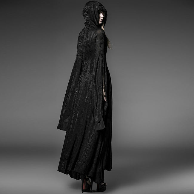 Black Sexy Oversized Hooded Gothic Trench Coats For Young Women