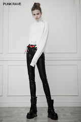 The soft, high-elastic denim fabric in contrast with elastic brush twill fabric Pants