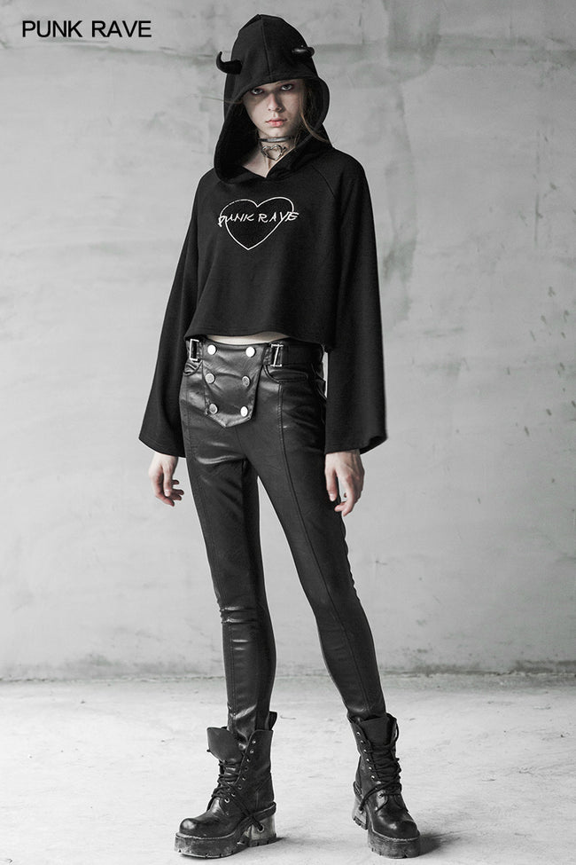Military Uniform Buckle Skinny PU Leather Pants (with belt)