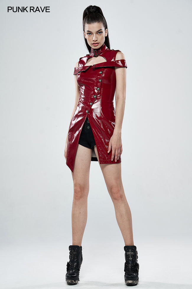 Punk flaming patent leather dress